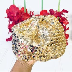 GOLD Sequin hat beret - one size
